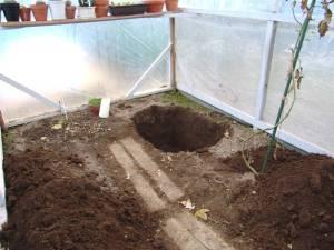 画像4(ビニールハウス内の穴掘り)