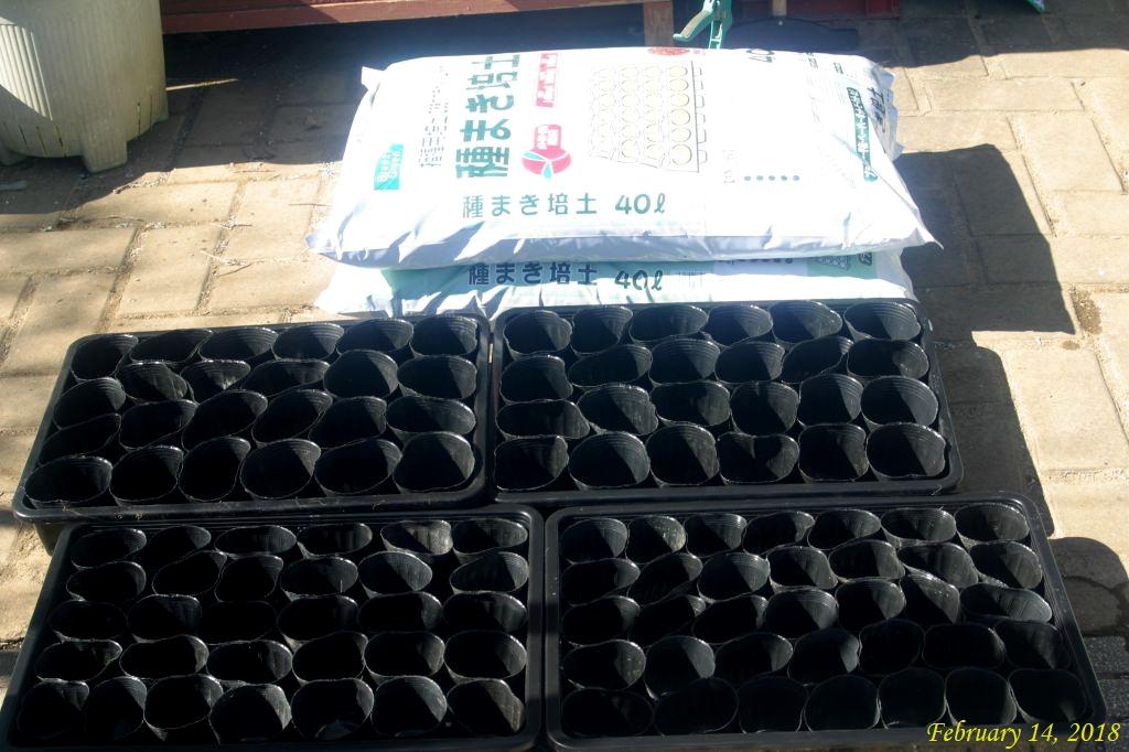 画像1(種まき培養土と種まき用トレイ)