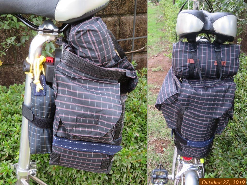 画像12(トレンクルに装着したサドルバッグと輪行バッグ・工具)